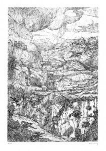 Landschaft mit Schluchten