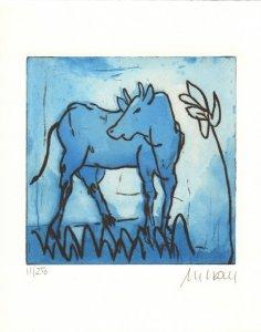 Blaue Kuh mit Blume