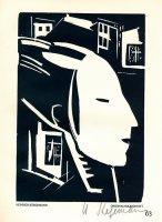 Stegemann, Heinrich Weiblicher Kopf am Fenster, im Profil Bruhns 96